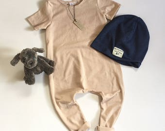 RTS 2T Nude Solid Romper Short Sleeve