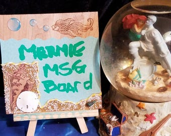 MERMAID MESSAGE Board w/BUBBLES, Sandollar, Woodburn, with Stand, Buddah, Magic Water Writing