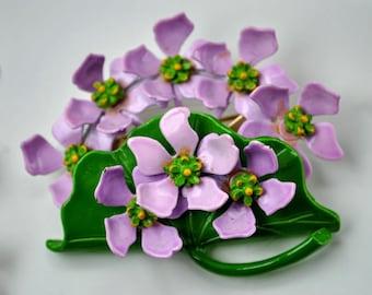Vintage Purple Green Painted Enamel Flower Leaf Set - Bracelet Brooch Earrings -Stunning From Estate