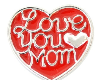 1 PC - 18MM Love You Mom Red Enamel Silver Snap Candy Charm kb6879 CC2007