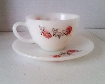 "Vintage Fire King Tea Cup Saucer ""Fleurette"" Pattern Anchor Hocking Oven Proof"