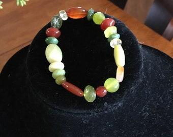 Beautiful Green, Cream and Brown Beaded Bracelet