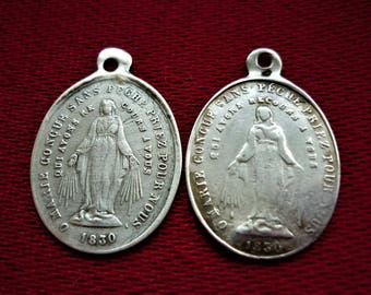 Vintage Sterling Silver Miraculous Medals Lot 2 1830 Religious Medals