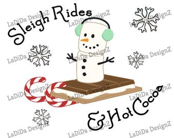 Sleigh Rides and Hot Cocoa Christmas Sublimation Transfers Stripes Marshmallow Candy Canes Kid Snowflakes