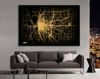 QUINCY Illinois Night Lights Map Large Horizontal Wall Art Map Quincy IL Modern Art Neon City Street Map of Quincy NLM