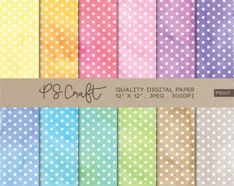 Polka Dots Watercolor Digital Papers, Polka Dot Background,  Polka Dot Clip Art