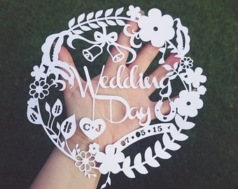 Customised Wedding Day Papercut Template. Personalised Gift - Personal Use Only.