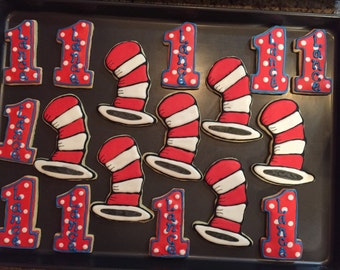 Dr. Suess cookies, Cat in the Hat cookies.