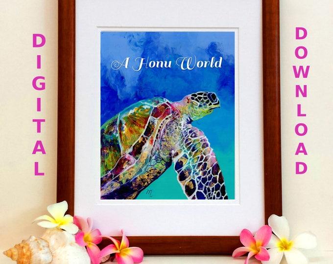 Turtle Printable Sea Turtle Digital Art Prints 8x10 and 5x7 printable wall art home decor nursery prints  downloadable ocean animal prints