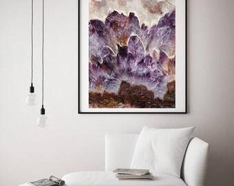 Mineral Photography - (Print # 137)  Amethsyt Slab -Fine Art Print - Mineral / Geode / Agate / Crystal Decor - Bohemian Home
