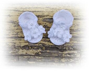 Crochet baby sandals, White newborn sandals, Baby sandles, White shoes, White Crochet sandals, Newborn sandals, barefoot baby sandals