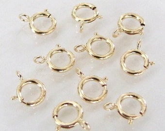 20pcs - 14K Gold Filled 6mm Spring Ring Clasp, Made in Italy, GF2
