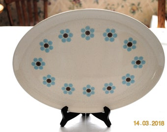 "Taylor, Smith & Taylor Arctic Night 13"" Platter A Ring of  Blue Flowers with Brown Centers"