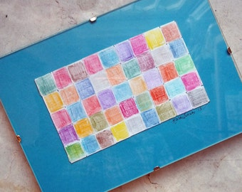 Woven Paper and Colored Pencil Original Art 5 x 7 Framed