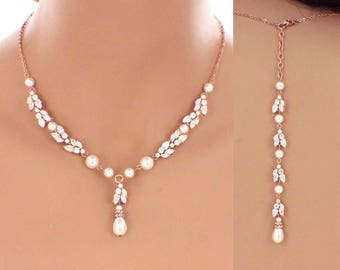 Wedding accessories, rose gold jewelry set, CZ necklace, CZ earrings, bridal jewelry set, backdrop necklace earrings, wedding jewelry set