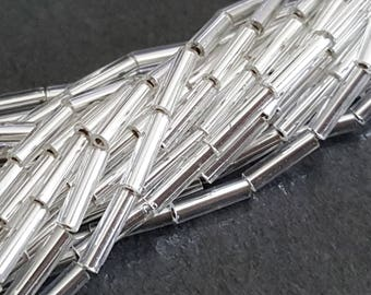 rocaill 7 glass beads x 1 mm seed beads silver glass tube