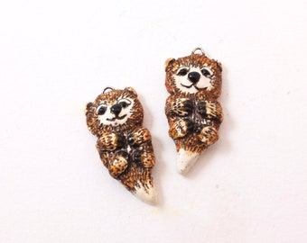 Polymer Clay Otter Dangles/Earring Components Set