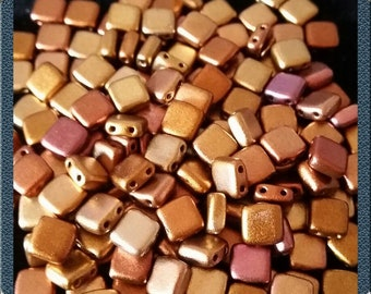 CZ 2Hole square beads, 6 mm, gold Irrisierend
