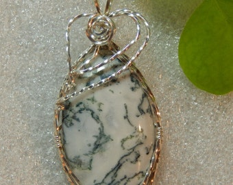Natural Tree Fern Agate Pendant wire wrapped in Sterling Silver, Green Tree Fern Agate Pendant Necklace, Oval Tree Fern