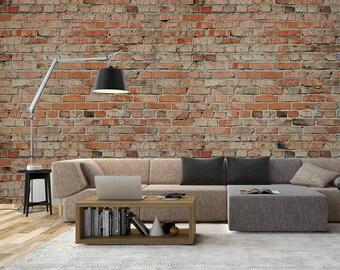 Red Brick Wallpaper, Home and Office Wall Decor, DIY Interiors #BRENDA