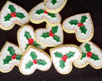 See Shop Announcement for % off Coupon Codes - Christmas Hearts & Holly Buttons - 7/8 inch - YOU PICK QUANTITY - 5 thru 25
