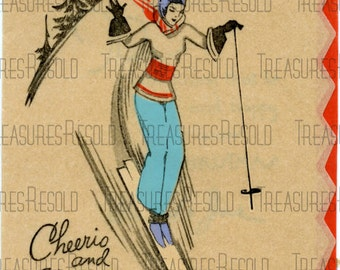Retro Lady Skiing Card #345 Digital Download