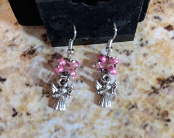 Dangle earrings - silver angels with glitter pink seed beads