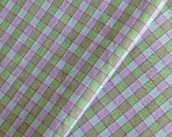 fabric 100% cotton gingham pink and Green Grid