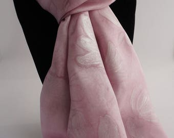 "Silk shawl hand painted, pink scarf, hand painted silk scarve, mothers ""Teja"""