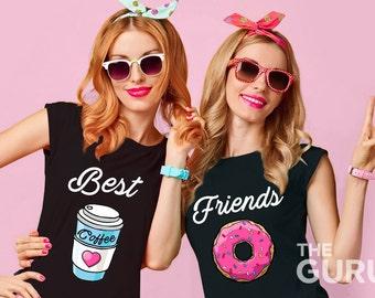 Best friends shirts besties shirt bff shirts best friends matching shirts sister shirts twin shirts donut coffee shirt gift for best friend