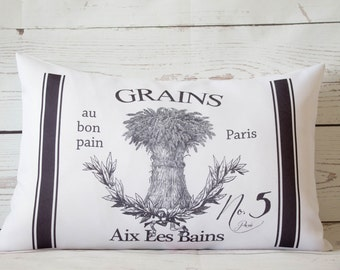 """French Grains - 12 x 18"""" Lumbar Cushion Pillow Cover French Shabby Vintage Chic - UK Handmade"""
