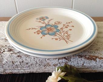 "2 Baker Hart Stuart ""Patricia"" Side, Salad Plates, Blue, Brown Flowers, 1980s Japanese Stoneware Small Plates, Set Of 2"