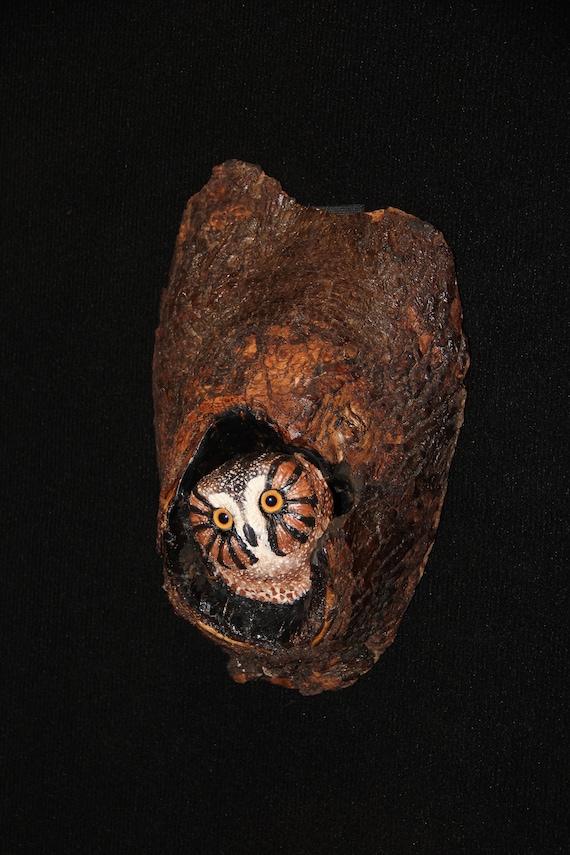 Owl Bird Wall Art - Hand Sculpted Ceramic -OOAK
