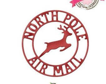 "Die cut metal Tag ""North pole Air Mail"" matrix Cottage Cutz"