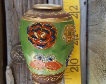 Miniature Japanese Moriage Satsuma Vase