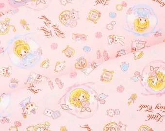 """Little Fairy Tale Princess Characters Oxford Fabric made in Japan by the FQ 45cm by 53cm or 18"""" by 21"""""""