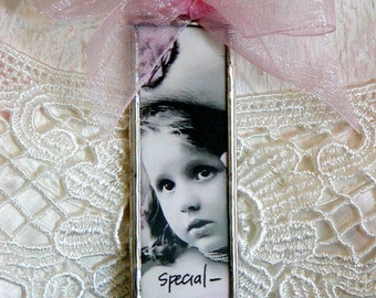 """Altered Soldered GLASS NECKLACE """"Special"""" Vintage Girl Floral Images Double-sided Pendant Microscope Slides Pink & Silver"""