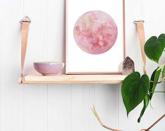 Strawberry Moon Watercolour Illustration Art Print | Full Moon Wall Art Elle Sorridente | Boho Style  Home Decor