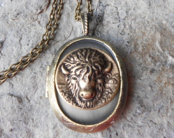 "Choose Bronze or Antiqued Silver - Buffalo Locket -  2"" Long - Bison, Indian, Plains, American, Vintage Look - Antiqued Look - Great Quality"