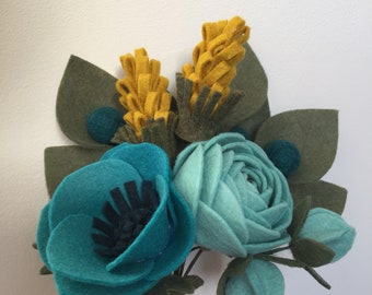 Felt flower gift bouquet - mustard and teal