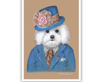 Maltese Art Print - Dandy in Love - LOVE Collection - Dogs in Dapper Costumes - Pet Kingdom by Maria Pishvanova