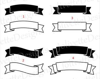 Banner, Ribbon, Label, Scroll Clip Art, Clipart, Design, Svg Files, Png Files, Eps, Dxf, Pdf Files, Silhouette, Cricut, Cut File