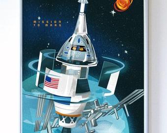 11 x 14 Mars Mission Orion, SLS Science Poster Art Print, Original Illustration - Stellar Science Series™