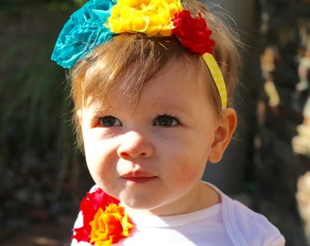 FRIDA KAHLO Inspired Triple Floral Baby Toddler Headband