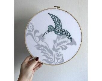 Bluebird silhouette - Embroidery Hoop - 10 inch