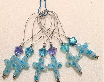 Knit markers with millefiori crucifix bead