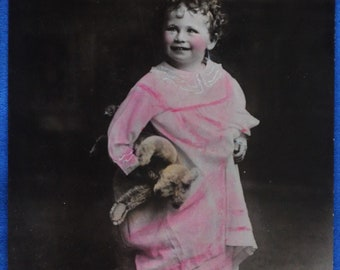 RPPC Toddler Pink Gown Teddy Bear We're Off to Bed 1910 Postcard