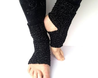 Black yoga socks, pilates socks, flip flop socks, sparkly socks, dance, exercise, seamless, cotton, handmade, knitted, spiral pattern, gift