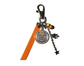 """Cousin Keyring, bag charm cousin, cousin gift, """"to my great cousin"""""""