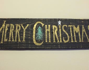 Merry Christmas Rustic Sign Weathered Reclaimed Wood, Folk Art
